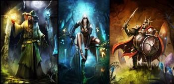 les trois personnages de Trine : le Voleur Amadeus, la Magicienne Zoya et le Chevalier Pontius