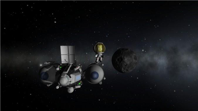 Kerbal Space Program - Un kerbal en orbite autour de la Mun